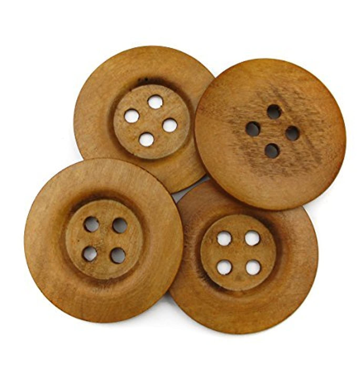 """ALL in ONE 20pcs Light Brown Large 4 Hole Sewing Wood Buttons with Wide Edge 50mm(2"""") (Light Brown Wide Edge-20pcs)"""