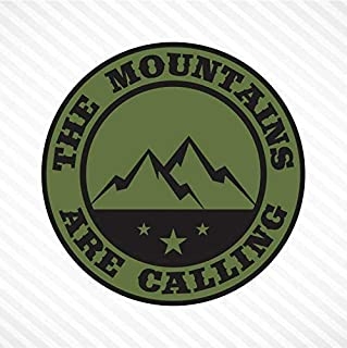 The Mountains Are Calling Vinyl Decal Bumper Sticker - Olive Green & Black, Outdoor Camping Hiking Rock Climbing Off Road ...