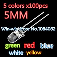 5 colors x100pcs =500pcs New 5mm Round Super Bright Led Red/Blue/Yellow/White/Green Water Clear LED Light Diode kit