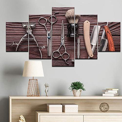 Nobrand muurkunst druk poster modulaire afbeeldingen 5 stuks kappersgereedschap schaar scheermes styling canvas schilderij huis beauty salon decor-40x60 40x80 40x100cm geen lijst