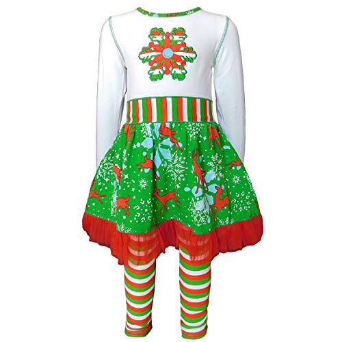 AnnLoren Little Girls' Christmas Snowflake Reindeers Tulle Dress & Striped Leggings Holiday Outfit 6 6X Green Red