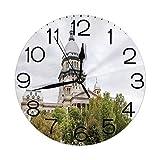 GoodLucke Reloj de Pared Redondo Decorativo, histórico Edificio del Capitolio Americano en Springfield Gobernador Política