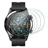 ELYCO [4 Pièces] pour Huawei Watch GT 2 46mm Verre Trempé, [sans Bulles ] [Anti-Rayures] HD Verre Trempé Protecteur d'écran pour Huawei Watch GT 2 46mm Film Protection Écran