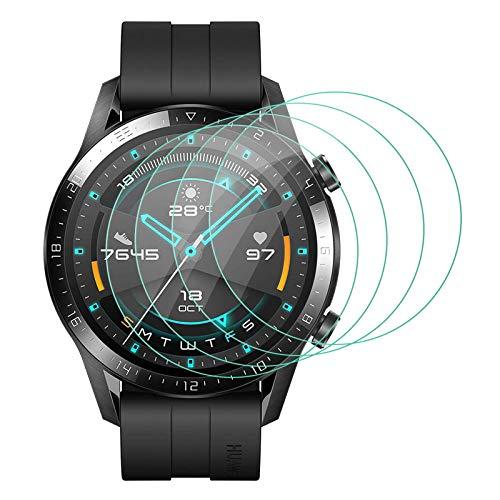 ELYCO [4 Pezzi] Huawei Watch GT 2 46mm Vetro temperato Pellicola Protettiva, [Transparent] Anti-Graffi/Anti-Olio/Anti-Polvere Screen Protector Pellicola Protettiva con Huawei Watch GT 2