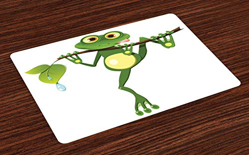 ABAKUHAUS Dier Placemat Set van 4, Kikker op Branch Jungle, Wasbare Stoffen Placemat voor Eettafel, Groen Wit Geel