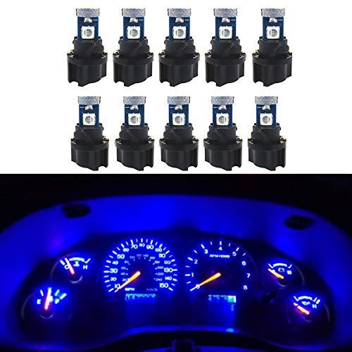 WLJH Lot de 10 ampoules 73 74 T5 Wedge 3030 3SMD pour tableau de bord avec douille T5, bleu