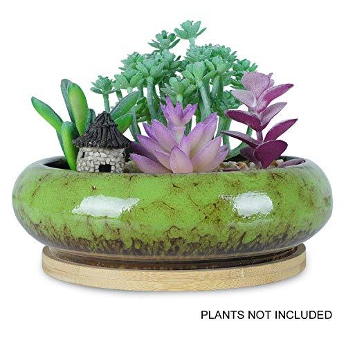 7.3 inch Round Succulent Planter Pots with Drainage Hole Bonsai Pots Garden Decorative Cactus Stand Ceramic Glazed Flower Container (Blue)
