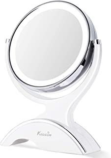 KEDSUM 1X & 10X Magnifying Makeup Mirror, Double Sided Lighted Vanity Mirror with 360 Degree Rotation, Battery Operated, Natural White Light