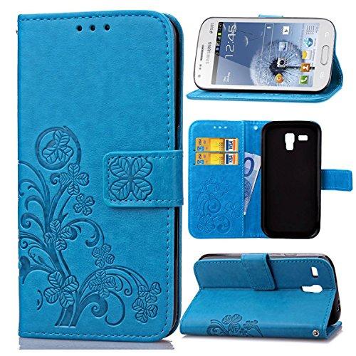 Guran® Funda de Cuero PU para Samsung Galaxy Trend Duos (S7562) Smartphone Función de Soporte con Ranura para Tarjetas Flip Case Trébol de la Suerte en Relieve Patrón Cover - Azul