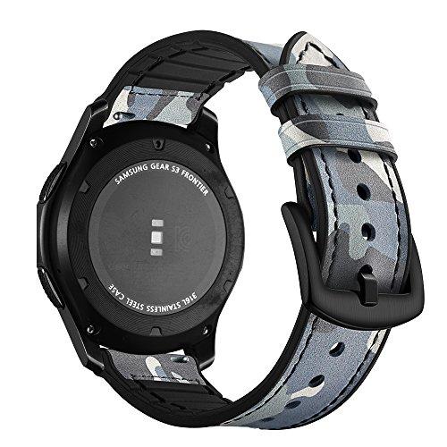 Aottom Compatible pour Bracelet Samsung Galaxy Watch 46mm,Gear S3 Frontier Bracelet Samsung Gear S3 Classic Sport Bande de Bracelet 22mm Homme avec Acier Fermeture pour Gear S3 /Galaxy Watch 46mm