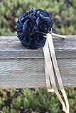 Navy Silk Rose Toss Bouquet (12 Roses) - Silk Flower Bridal Wedding Bouquet