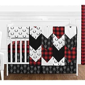 Sweet Jojo Designs Woodland Buffalo Plaid Baby Boy Nursery Crib Bedding Set – 5 Pieces – Red and Black Rustic Country Deer Lumberjack Arrow
