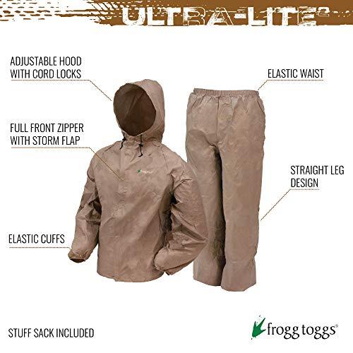 FROGG TOGGS Men's Ultra-Lite2 Waterproof Breathable Protective Rain Suit Rainwear, Khaki, Large
