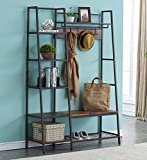 HOMYSHOPY Entryway Hall Tree with Removable Hooks, Storage Shelves and Bench, Multipurpose Coat Rack for Hallway, Vintage Brown