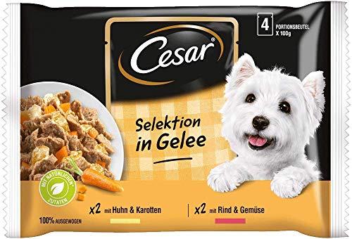 Cesar Hundefutter Nassfutter Selektion in Gelee mit Huhn & Karotten und Rind & Gemüse, 52 Beutel (13 x 4 x 100 g)