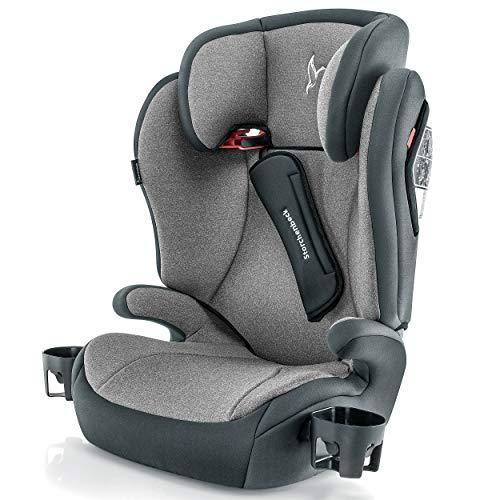 Storchenbeck Kindersitz K30 - Gruppe 2/3 Kinder Autositz (15-36 kg, 3-12 Jahre) mit verstellbarer Kopfstütze, Gurtpolster und Getränkehalter - Schwarz Grau