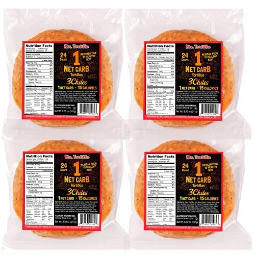 Mr. Tortilla 1 Net Carb Tortillas (96 Tortillas)   Keto, Vegan, Kosher   (Multigrain)