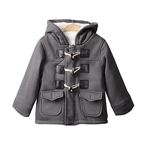 Baby Boys Cotton Fleece Hooded Jacket Outerwear Duffle Coat (18-24 Months, Gray)
