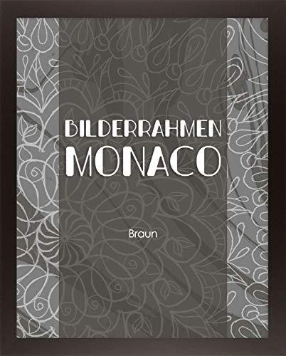 Homedeco-24 Monaco MDF Bilderrahmen ohne Rundungen 61 x 91 cm Größe wählbar 91 x 61 cm Dunkelbraun mit Acrylglas klar 1 mm