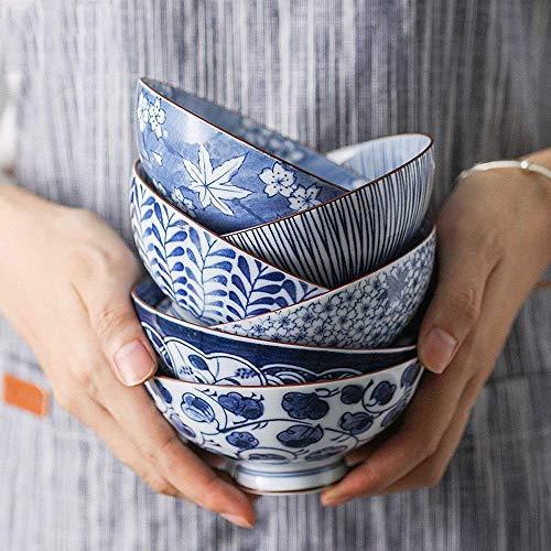 WJSW Reis Obstsalat Schüssel kleine Suppe Getreide Kimchi Küche Dessert Schüssel blau und weiß Keramik Feier Hochzeit Schüssel Geschenkbox 5 Schalen (Farbe: 5,5 Zoll Schüssel Set)