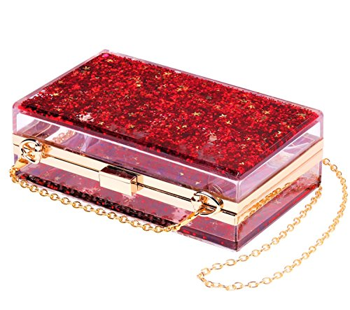 💋Transparent Sequins Clutch High Quality Martial: 100% Polyurethane, Polyester lining, Kiss Lock closure. 💋Sparkling Purse Capacity: You can easily fit your cell phone (fit for iPhone X ), cards, money, car keys, small wallet, mirror, lipstick, and s...