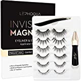 Le' phoqua Magnetic Eyelashes With Eyeliner, 2021 Upgraded Magnetic Lashes and Eyeliner Kit, 6 Pairs False Lashes, Natural Look, Easy to Wear, Fit & Comfortable, No Glue Needed