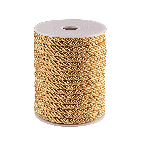 PH PandaHall 5mm/ 18 Yards Twisted Trim Cord Rope Nylon Twisted Cord Trim Thread String for Home Décor, Upholstery, Curtain Tieback, Honor Cord