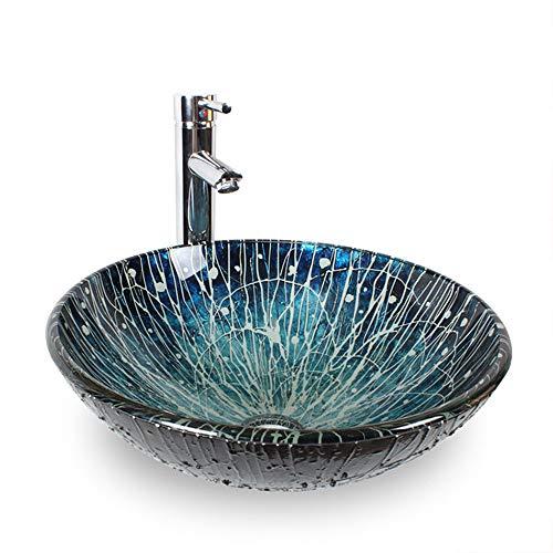 LVLUOYE Waschbecken im Bad, blau handbemaltes Kunstbecken aus Glas, Waschbeckenschrank, Badezimmer mit Gegenbecken, Waschbecken, Einzelwaschbecken