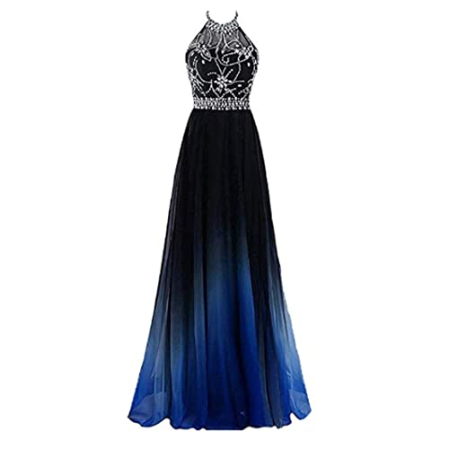 01b91b3b5eb7d AMXK Women's Gradient Chiffon Long Prom Dresses Ombre Formal Evening Party  Gowns with Crystal Beaded