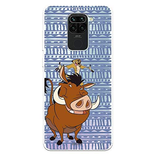 Funda para Xiaomi Redmi Note 9 Oficial de El Rey León Timón y Pumba Silueta para Proteger tu móvil. Carcasa para Xiaomi de Silicona Flexible con Licencia Oficial de Disney.