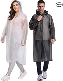 EnergeticSky Multifunctional Rain Poncho,EVA Portable Raincoat with Hoods and Sleeves,No Chemical Smell,Reusable & Thicken and Perfect for Hiking,Disneyland,or Camping.(Multi-Size)