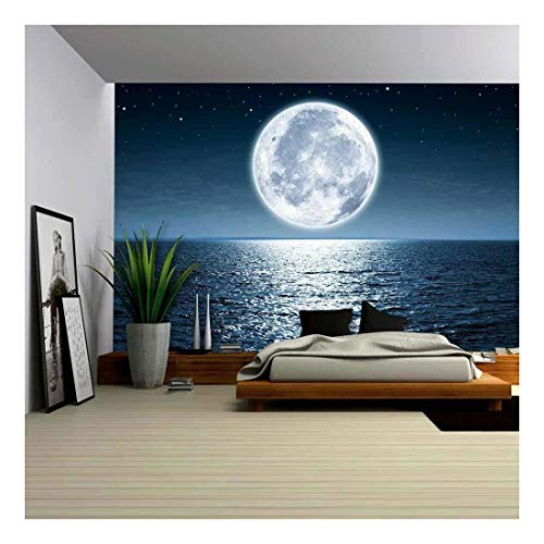 wall26 - Full Moon Rising Over The Ocean Empty at Night with Copy Space - Removable Wall Mural | Self-Adhesive Large Wallpaper - 100x144 inches