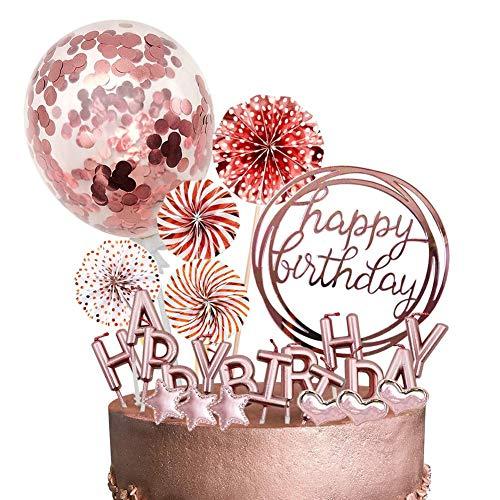 12 Piezas,Decoracion Tarta Cumpleaños,Cake Topper Globos,Happy Birthday Decoracion Tarta,Topper Tarta,Decoración Tartas. (polvo)