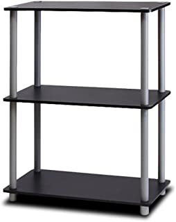 Furinno 10024BK/GY Turn-N-Tube Display Rack, 3-Tier Single, Black/Grey