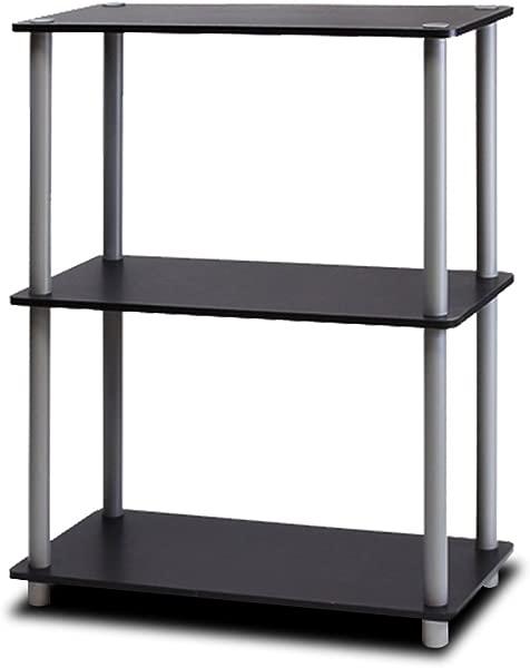 Furinno 10024BK GY Turn N Tube 3 Tier Compact Multipurpose Shelf Display Rack Black Grey
