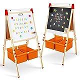 Magicfun Kinder Staffelei, Kreidetafel und Whiteboard aus Holz mit magnetische Buchstaben, Zahlen, Kreiden und Farbstift, Tafel Spielzeug tolles Geschenk für Kinder ab 2 Jahre