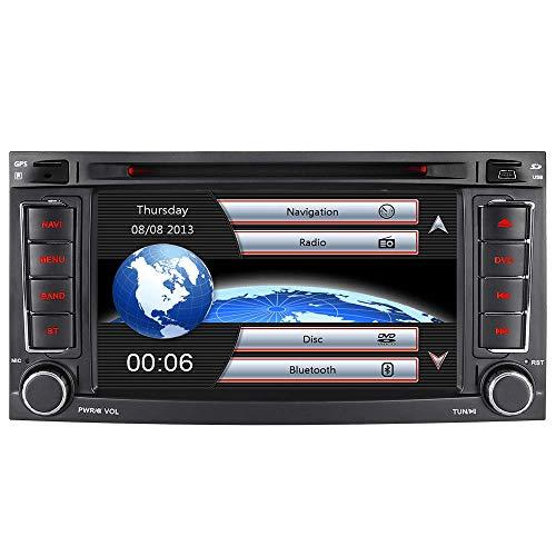 Junhua 7 Zoll Doppel 2 Din Autoradio Navi Navigation DVD GPS Bluetooth DAB Radio RDS Mirrorlink für VW Touareg Transporter T5 Multivan (Radio)