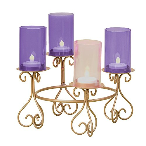 8.25' Advent Votive Holder W/Glass Chimneys Without Batteries Candles by Roman