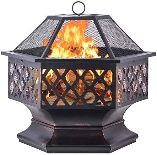HLZY Fuego de Incendio al Aire Libre para Patio Barbacoa, Parrilla ardiente, Hexagonal 22'Black Fire Pit Square Steel Table Patio Garden Calentador de jardín BBQ al Aire Libre Camping