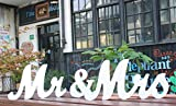 Amajoy Large White Wooden MR & MRS Wedding Sign for Beach Wedding Elegant Sweetheart and Reception Top Table Sign Decorative Letters for Wedding Shower