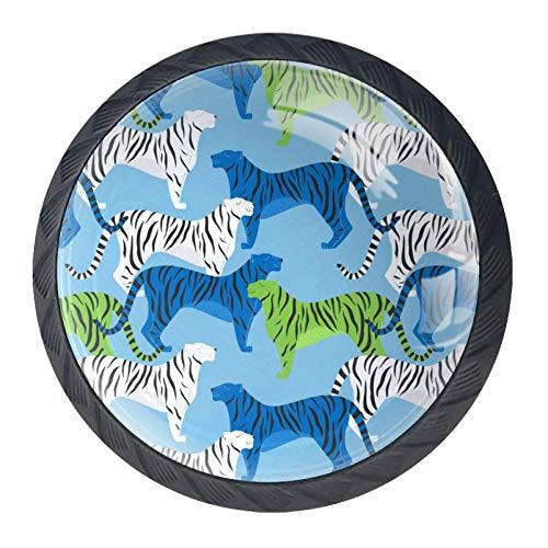 4 pomelli trasparenti per porta, cassetti, armadio, credenza, balena blu, Tigre blu bianco verde, 3.5×2.8CM/1.38×1.10IN