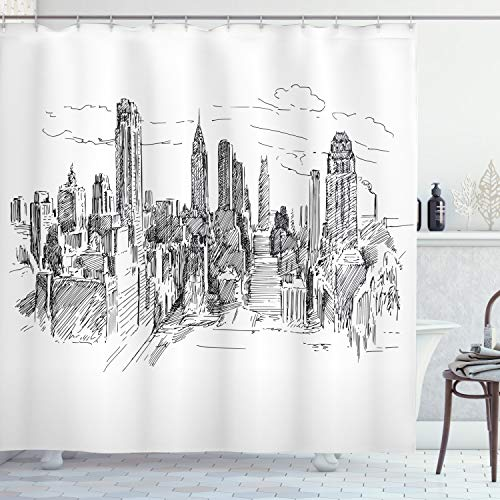 Ambesonne New York Shower Curtain, Hand Drawn NYC Cityscape Tourism Industrial Center Town Modern City Design, Cloth Fabric Bathroom Decor Set with Hooks, 70 Long, Black White