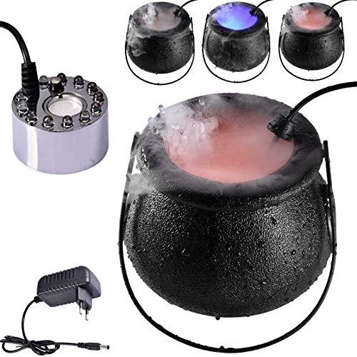 Yiyu Halloween Nebelmaschine, Halloween Nebelmaschine Nebelmaschine, 16W Nebelmaschine Tragbare Rauchmaschine LED Nebelmaschine Sprayer Mit LED-Licht Für Hochzeit, Halloween x (Color : Black)