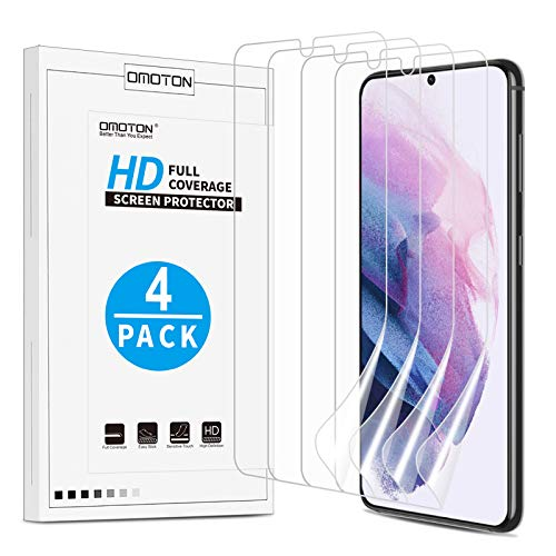 [4 Pack] OMOTON Screen Protector for Samsung Galaxy S21 Plus - High Definition,Ultra Clear, TPU Protective Film for Galaxy S21 Plus [6.7 Inch]