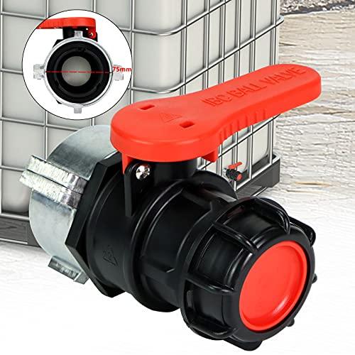 DAKCOS 1000L IBC Válvula de mariposa para tanque de agua Adaptador de manguera Conector de repuesto para válvula de repuesto Contenedor de agua S60 x 6 (60 mm) S75 x 6 (75 mm) DN50