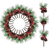 WILLBOND 24 Piezas Selecciones de Pino Navideño Árbol de Pino Piñas Artificiales Bayas Falsas Pequeñas para Decoración Artesanales de Árbol de Navidad de Jardín Boda