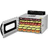 Deshidratador de alimentos de 6 bandejas Deshidratador comercial de acero inoxidable para secar frutas, carnes y verduras, con temporizador digital y temperatura
