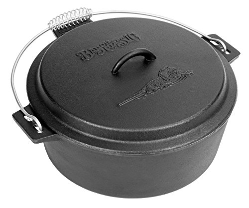 Bayou Classic 7410 Cast Iron Chicken Fryer with Dutch Oven Lid, 10