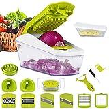 Mandolina de cocina cortador de verduras 14 in 1 mandolinas de verduras utensilios de cocina profesional rallador de verdura corte de vegetales multi corte profesional cuchillo de acero inoxidable