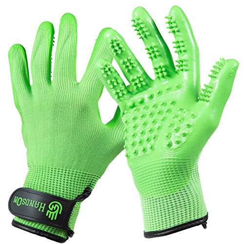 HandsOn Pet Grooming Gloves - #1 Ranked, Award Winning Shedding, Bathing, & Hair Remover Gloves for Cats, Dogs, and Horses (Mono-Green, Small)